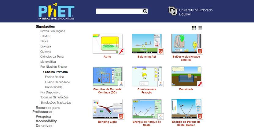 Portal de Simulações Interativas - PHET